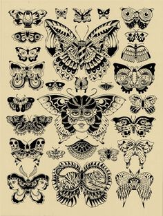 Black and White Tattoo Flash OLD SCHOOL | Butterfly tatuaggi old school