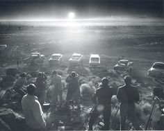In this June photo from the Las Vegas News Bureau, photographers are seen lined up to shoot the above ground detonation of a bomb at the Nevada test site. Nuclear Bomb Test, Nuclear War, Nuclear Energy, Nevada Test Site, Las Vegas, Old School Muscle Cars, Nevada Desert, Nevada Usa, Facts You Didnt Know