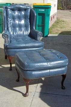 Vintage Genuine Leather Button Tufted Wing Chair w/matching Ottoman by Classic