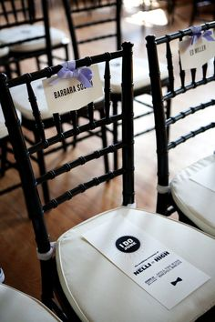 name tags on ceremony chairs
