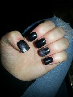 Black and glitter Glitter, Nails, Beauty, Black, Finger Nails, Ongles, Black People, Cosmetology, Nail