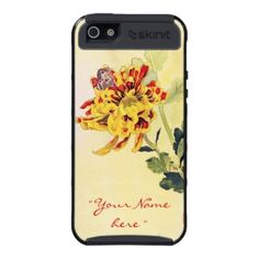 Classic vintage ukiyo-e chrysanthemum butterfly covers for iPhone 5 SKINIT with custom name #iphone5 #cases #customized #personalized #butterfly #vintage #japanese
