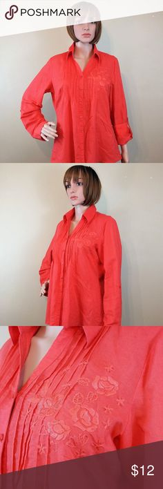 "Carole Little Large Red Long Sleeve Linen Blouse Carole Little Large Red Long Sleeve Linen Blouse  Gently used, clean and in good pre-owned condition.  Chest = 19"" (armpit to armpit - across the front) Length = 26"" (shoulder to hem) Material:  Linen (55%) Cotton (45%) Features:  Button up cuff sleeves  No trades or modeling of clothing, jewelry, shoes or accessories.  If additional measurements are required to ensure the perfect fit for you, I will gladly provide them. All items are from a…"