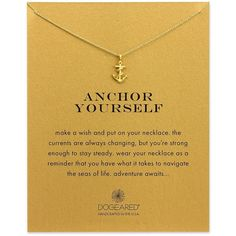 Dogeared Reminder Anchor Yourself Sterling Silver Pendant Necklace ($58) ❤ liked on Polyvore featuring jewelry, necklaces, gold, sterling silver jewellery, 14k necklace, anchor necklace, sterling silver necklaces and 14 karat gold necklace