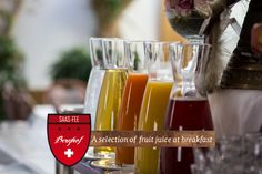 Breakfast Saas Fee, Breakfast Juice, Fruit Juice, Wine Glass, Tableware, Dinnerware, Juice Drinks, Dishes, Place Settings