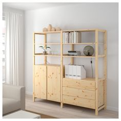 IKEA - IVAR, 2 sections/shelves/cabinet/chest, pine, Untreated solid wood is a durable natural material which is even more hardwearing and easy to look after if you oil or wax the surface. You can move shelves and adapt spacing to suit your needs. Ikea Ivar Regal, Pine Cabinets, Standing Shelves, Ikea Family, Shelves In Bedroom, Drawer Fronts, Panel Doors, Adjustable Shelving, Bedroom Decor