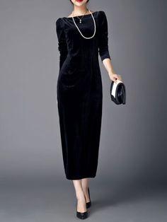 AZIMAO Velvet Maxi Dress with Belt