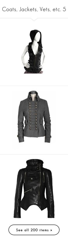 """""""Coats, Jackets, Vets, etc. 5"""" by xx-black-blade-xx ❤ liked on Polyvore featuring outerwear, vests, vest waistcoat, hooded vest, jackets, coats, steampunk, coats & jackets, leather jacket and black"""