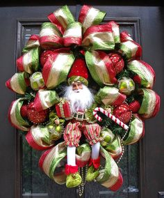 I Adore this ~~ Ribbon and Santa Wreath