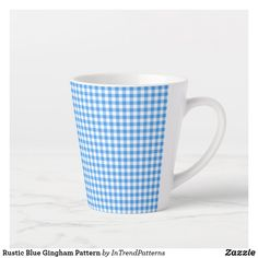 Rustic Blue Gingham Pattern Latte Mug Blue Gingham, Gingham Check, Rustic Blue, Unique Coffee Mugs, Latte Mugs, Party Hats, Art Pieces, Blue And White, Simple