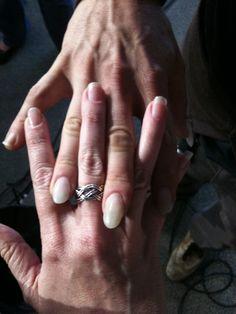 John Butler's nails vs my nails.  He won - but mine were real ;)  He picks guitars - I ... pick ... nits?