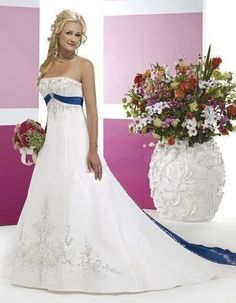 satin a line wedding dress with royal blue train