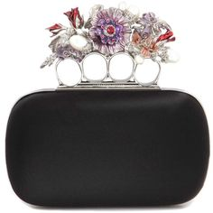 Alexander McQueen Knuckle Short Embellished Silk-Satin Box Clutch found on Polyvore featuring polyvore, women's fashion, bags, handbags, clutches, black, hardcase clutch, embellished purses, knuckle box clutch and box clutch