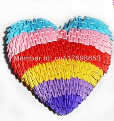 beautiful hearts handmade with 3d origami folded pieces of paper in many kinds of colour paper,gifts for lover ,Free shipping