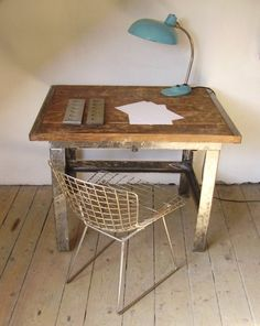 work desk and wire chair