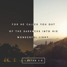 """""""But you are his chosen people, the King's priests. You are a holy nation, people who belong to God. He chose you to tell about the wonderful things he has done. He brought you out of the darkness of sin into his wonderful light."""" 1 Peter 2:9 ERV http://bible.com/406/1pe.2.9.erv"""