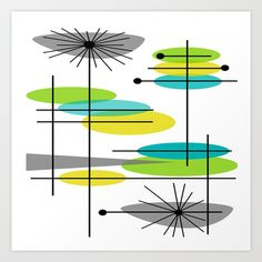 Mid-Century Modern Atomic Design Art Print by Kippygirl -