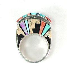 Native American Navajo Inlay Ring by Merle House, Jr.   A beautiful inlay of a Navajo Night- the hogan nestled under a star studded (sterlin...