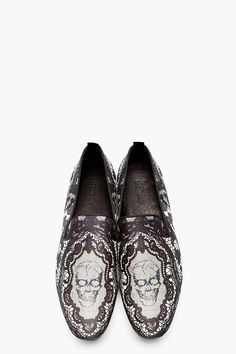 ALEXANDER MCQUEEN Black Lace & Skull Loafers