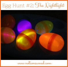 Egg Hunt #2: The Nightlight. Glowing fun for all ages! Plus 5 more Egg Hunt ideas and FREE Printables!