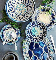 Blue Byzantine Melamine Dinner Plates