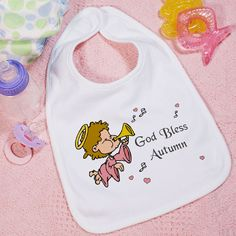 Personalized God Bless Girl Baby Bib Engraved Gifts, Personalized Gifts, First Communion Gifts, Photo Blanket, Baby Bibs, Baby Shower Gifts, Blessed, Photo Gifts, God