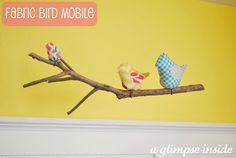 Fabric bird mobile {with great tutorial}