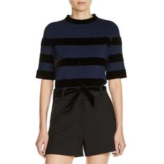 Women's Maje Velvet Stripe Milano Knit Crop Top (6.269.800 IDR) ❤ liked on Polyvore featuring tops, navy, striped top, velvet top, navy stripe top, navy crop top and bow top