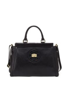 Gloria Leather Logo Satchel Bag, Black by Tory Burch at Neiman Marcus.