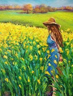 Golden Afternoon by Kimberly Adams - Malerei Watercolor Landscape, Landscape Art, Landscape Paintings, Watercolor Paintings, Acrylic Painting Canvas, Canvas Art, Wow Art, Art Drawings Sketches Simple, Aesthetic Art
