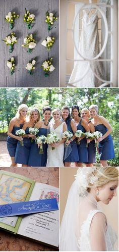 Love the blue bridesmaid dresses