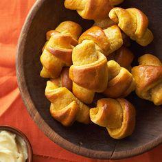 Please your crowd with these Pumpkin Crescent Rolls with Honey Butter. More pumpkin recipes: http://www.bhg.com/thanksgiving/recipes/pumpkin-recipes/?socsrc=bhgpin083013crescentrolls=33
