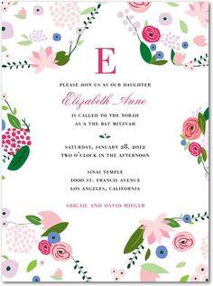 Bar, Bat Mitzvah Invitations - Floral Star by Tiny Prints
