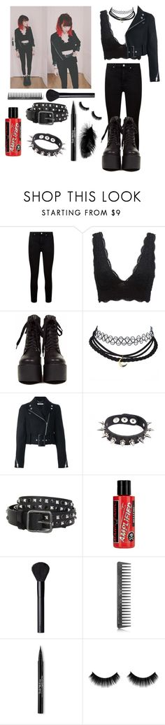 """""""Every Me & Every You"""" by violenceinsilence ❤ liked on Polyvore featuring Paige Denim, Charlotte Russe, Givenchy, Apex, Dsquared2, Manic Panic NYC, NARS Cosmetics, GHD, Trish McEvoy and GetTheLook"""