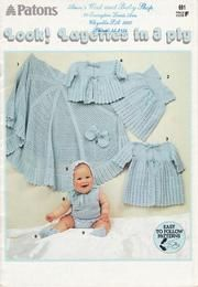 Patons 691 Look Layettes in 3 ply Free Baby Patterns, Kids Knitting Patterns, Baby Knitting Patterns, Knitting Projects, Baby Girl Crochet Blanket, Crochet Baby, Knitted Baby Clothes, Baby Knits, Layette Pattern