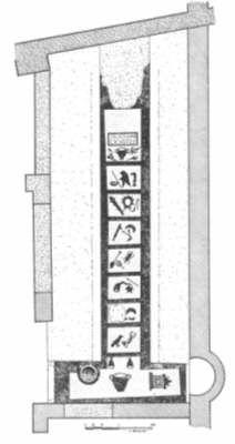 Mitraeum in Ostia bij Rome, met afbeeldingen van de 7 rangen van de cultus.