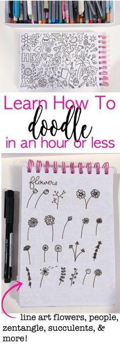 Short Courses for Doodle & Hand Lettering learning. #flowerdoodles #journaldoodles #bujodoodles #handlettering (Description by: My Journaling )