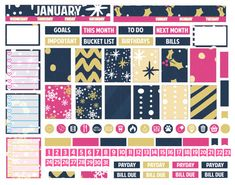 Printable Planner Stickers January Monthly Spread by LaceAndLogos