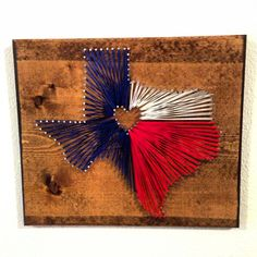 Texas State, Texas Flag, String Art, Nail Art, State, Hometown. $40.00, via Etsy.