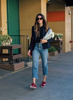LA Flower Mart | Thrifts and Threads. Black long sleeve+cropped denim+burgundy sneakers+navy blazer+burgundy crossbody+sunglasses. Fall Outfit 2016