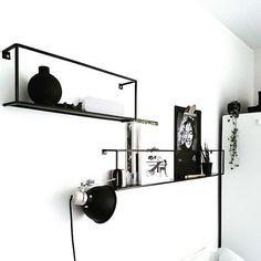 Instagram media by madebywoood - Black and white with our Meert wall shelves at @vosgesparis. Love it! #woood #meert #wallshelves #wandplank #metaal