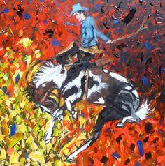 'Bucking Horse' ----- painting by Kent Paulette ( aka derfla ) 30 x 30 inches ----- www.KentPaulette.com