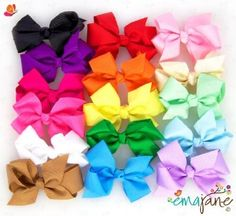 Ema Jane - Cute Set of 15 Assorted Boutique Quality 'Ema Jane' Grosgrain Baby Hair Bow Clips (Headbands Not Included) - Perfect for Girls, Youth, Toddlers, Newborns