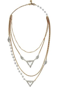Lulu FrostPearl Reign gold-plated, crystal and freshwater pearl necklace