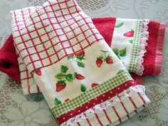 Strawberry decorated towels are pretty and useful.  |   Created by Cath