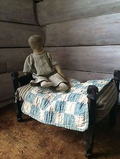 Childs Doll Rope Bed With Early Ticking Feather Mattress and old Quilt. Old Quilts, Antique Quilts, Small Quilts, Old Dolls, Antique Dolls, Primitive Antiques, Primitive Doll, Doll Display, Miniature Quilts
