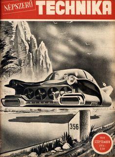 Experimental hover car. Cover: Robert Szenes, hungarian comics artist (Budapest, 1932-1971).