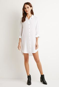 Longline Button-Tab Shirt | Forever 21 - 2000113540