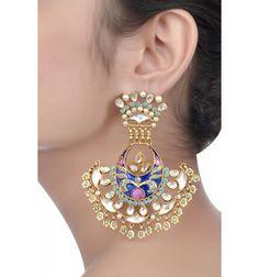Silver Enamelled Multistone Earrings