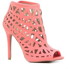 CiCiHot Neon Coral Faux Nubuck Geometric Cut Out Heels ($42) ❤ liked on Polyvore featuring shoes, pumps, neon pumps, nubuck leather shoes, open toe pumps, coral shoes and faux shoes